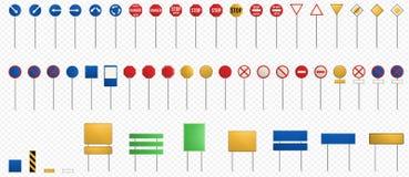set tecken för väg blanka vägmärken stock illustrationer