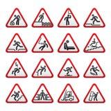 set tecken tre som för dimensionell fara varnar Arkivfoton