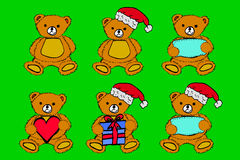 Set Teddy Bear at green background Stock Photography
