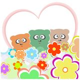 Set teddy bear with many flowers and love heart Stock Photos