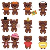 Set with teddy bears Royalty Free Stock Photos
