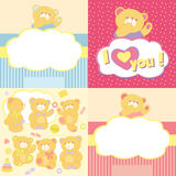 Set teddy bears in different poses Royalty Free Stock Photos