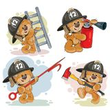 Set of teddy bears firefighters cartoon characters. Set of vector teddy bears firefighters with rescue equipment, extinguisher, pike pole, ladder, axe. Cute Stock Photos