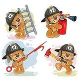 Set of teddy bears firefighters cartoon characters. Set of vector teddy bears firefighters with rescue equipment, extinguisher, pike pole, ladder, axe. Cute Stock Photos