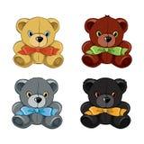Set of teddy bears. Vector Set of teddy bear toy illustration Stock Photography