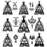 Set of tee-pee or wigwams with ornamental elements. Set of tee-pee or wigwams with ornamental tribal elements Stock Photos