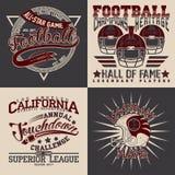 Set of tee shirt print designs. Set of Grunge Sport t-shirt graphic designs, Vintage Sport print stamps, Sports wear typography emblems, Creative design, Vector royalty free illustration