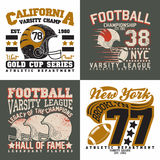 Set of tee shirt print designs. Set of Grunge Sport t-shirt graphic designs,  Vintage Sport print stamps, Sports wear typography emblems, Creative design, Vector Royalty Free Stock Images