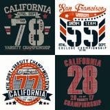 Set of tee shirt print designs. Set of t-shirt graphic designs, vintage print stamps, Sports wear typography emblems, Creative design, Vector stock illustration