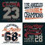 Set of tee shirt print designs. Set of t-shirt graphic designs, vintage print stamps, Sports wear typography emblems, Creative design, Vector royalty free illustration