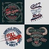 Set of tee shirt print designs. Set of t-shirt graphic designs, vintage print stamps, typography emblems of garage or brotherhoods bikers, Creative design vector illustration