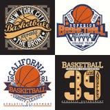 Set of tee shirt print designs. Set of Vintage t-shirt graphic designs, grange print stamps, basketball typography emblems, sports logos Creative design, Vector royalty free illustration