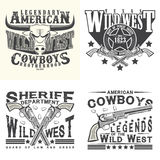 Set of tee shirt print designs. Set of Vintage typography, Wild West t-shirt graphics,  apparel stamps, tee print designs, vintage cowboy and sheriff and rangers Royalty Free Stock Images