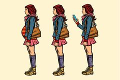 Set of teen girl. pregnant and with phone vector illustration
