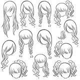 Set of teenage girl hairstyles Royalty Free Stock Image