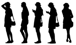 Set of teenage girls silhouettes Stock Image