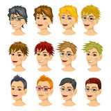 Set of teenager avatar expressions with different hairstyles Stock Photos