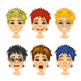 Set of teenager avatar expressions Royalty Free Stock Photo