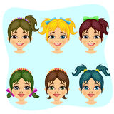 Set of teenager girl avatar expressions with different hairstyles Stock Photo