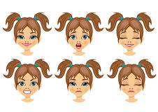 Set of teenager girl avatar expressions Stock Photos