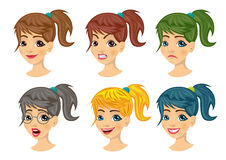 Set of teenager girl avatar expressions Royalty Free Stock Images