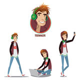 Set of teenager in three positions Royalty Free Stock Photo