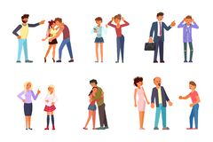Set of teens and parents stock illustration