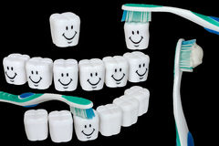 Set of teeth cleaning. Happy, teeth cleaning kit; clipping path Royalty Free Stock Photos