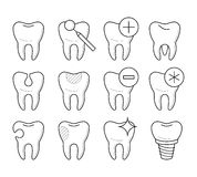 Set of teeth in different conditions, vector illustration Stock Image