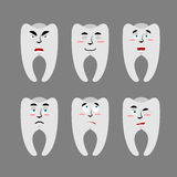 Set teeth with emotions. Cheerful and angry tooth. Surprise and Stock Images