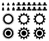 Set of teeth and gears. Vector EPS10 Stock Image
