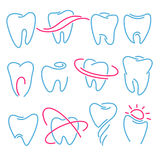 Set of teeth, tooth icons on white background. Can be used as logo for dental, dentist or stomatology clinic. Teeth care and health concept Vector Illustration