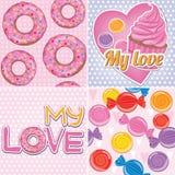 Set tekstury z cukierkami Zdjęcia Royalty Free