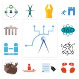 Set of telecom, inquiry, request a quote, hospitality, moose, earthquake, number players, 360 degree, municipality icons. Set Of 13 simple editable icons such as Royalty Free Stock Images