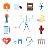 Set of telecom, municipality, next steps, join us, hospitality, tracker, order form, customer experience, penetration icons. Set Of 13 simple  icons such as Royalty Free Stock Photos