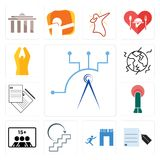Set of telecom, request a quote, join us, next steps, number players, penetration, earthquake, folded hands icons. Set Of 13 simple  icons such as telecom Stock Images