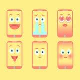 Set telephone Emotion icon on a yellow background Stock Photography