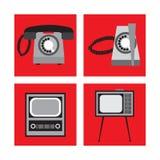 Set telephone, TV in retro style, vector illustration. Set appliances in retro style, telephone set, TV, vector illustration Stock Photography