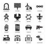 Set of Teleportation, Smartphone, Tank, Flying car, Wi gloves, Graphene, Jet pack, Eolic energy, Egg incubator icons. Set Of 16 simple  icons such as Royalty Free Stock Photos