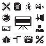 Set of Television, Percent, Video player, , Reading, User, Pictu. Set Of 13 simple editable icons such as Television, Percent, Video player, , Reading, User stock illustration