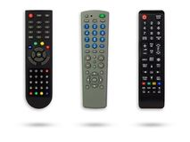 Set of television remote with clipping path. stock photo