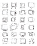 Set Televisions, vintage, vector illustration. Royalty Free Stock Photography
