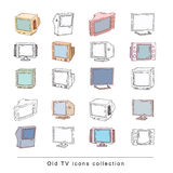 Set Televisions, vintage, vector illustration Stock Photos