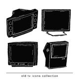 Set Televisions, vintage, vector illustration black color, Stock Photography