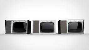 Set televisivi d'annata in bianco e nero - parallelamente illustrazione vettoriale