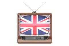 Set televisivo con la bandiera del Regno Unito Concetto britannico della televisione, Immagini Stock Libere da Diritti