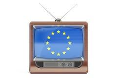 Set televisivo con la bandiera dell'UE Concetto europeo della televisione, 3D Fotografia Stock