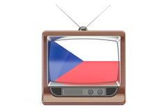 Set televisivo con la bandiera della repubblica Ceca Concetto della televisione, rende 3D Immagine Stock