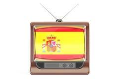 Set televisivo con la bandiera della Spagna Il concetto spagnolo della televisione, 3D rende Fotografie Stock Libere da Diritti