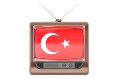 Set televisivo con la bandiera della Turchia Concetto turco della televisione, rende 3D Fotografie Stock Libere da Diritti